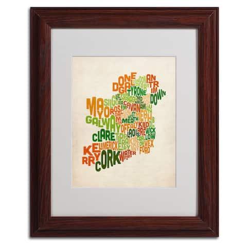 Michael Tompsett 'Ireland Text Map' Framed Matted Art