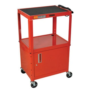 Red Rolling Height Adjustable Steel AV Storage Utility Cart