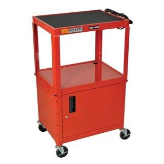 Red Rolling Height Adjustable Steel AV Storage Utility Cart