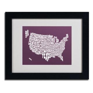 Michael Tompsett 'MULBERRY-USA States Text Map' Matted Framed Art