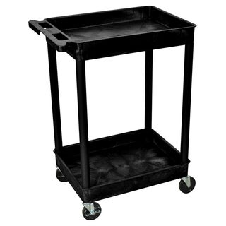 Offex Black Rolling 2-tub Shelf Plastic Storage Utility Cart with Push Handle and 4 Casters
