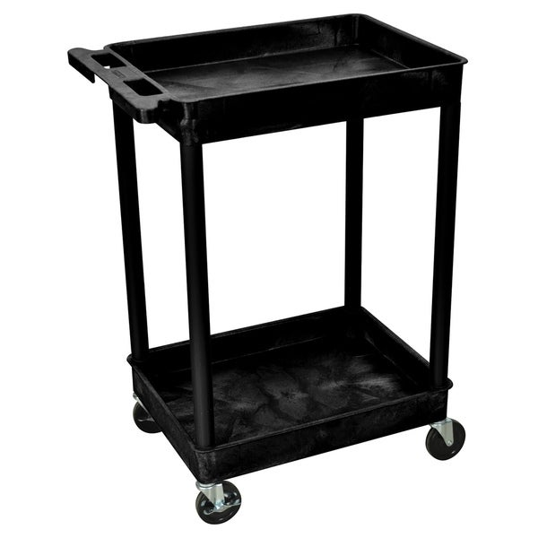 Offex Black Rolling 2-tub Shelf Plastic Storage Utility Cart with Push