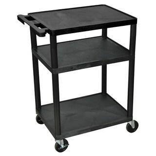 Offex Black Mobile 3-shelf Adjustable Storage AV/ Utility Cart with 4 Casters