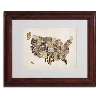 Michael Tompsett 'USA States Text Map 2' Framed Matted Art