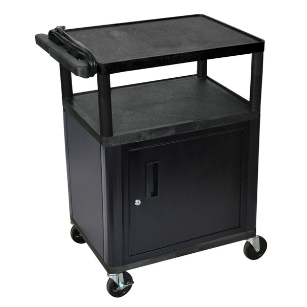 Offex Black Mobile 3-shelf Adjustable Storage AV Cart with Locking Storage Cabinet, Electric, 4 Cast