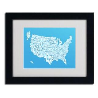 Michael Tompsett 'AZUL-USA States Text Map' Framed Matted Art