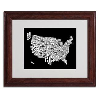 Michael Tompsett 'BLACK-USA States Text Map' Framed Matted Art