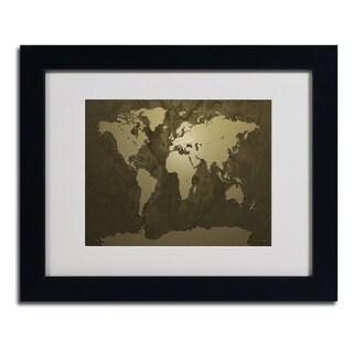 Michael Tompsett 'Gold World Map' Framed Matted Art