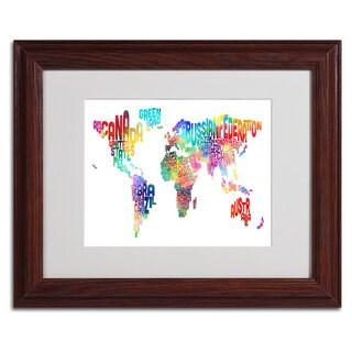 Michael Tompsett 'World Text Map' Framed Matted Art