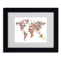 Michael Tompsett 'Flowers World Map 2' Framed Matted Art