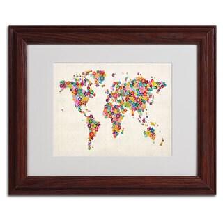 Michael Tompsett 'Flowers World Map' Framed Matted Art