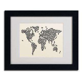 Michael Tompsett 'Cats World Map 2' Framed Matted Art