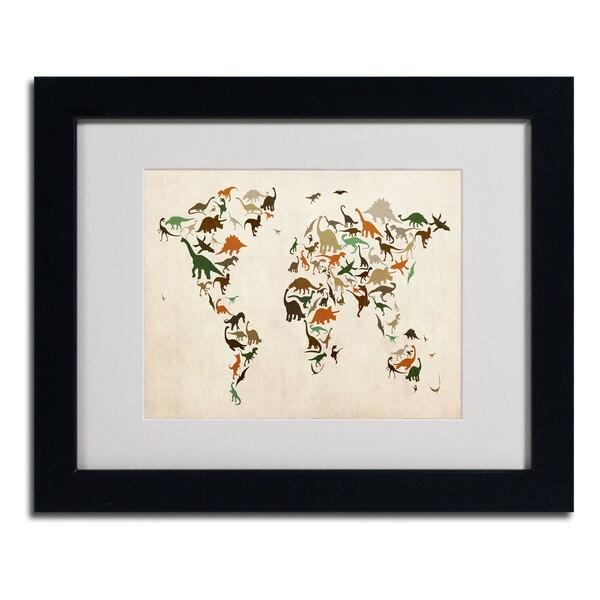 Michael Tompsett 'Dinosaur World Map 2' Framed Matted Art