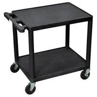 Offex OF-LP26-B Black 2 Shelves Multipurpose Plastic A/V Utility Cart
