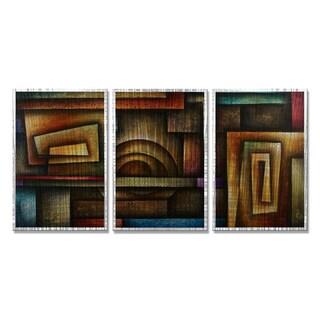 Michael Lang 'Abstract Mind' 3-piece Metal Art