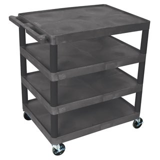 Offex Black BC40 Movable Multi-tiered 4 Flat Storage Shelf Structural Foam Molded Plastic Utility Cart