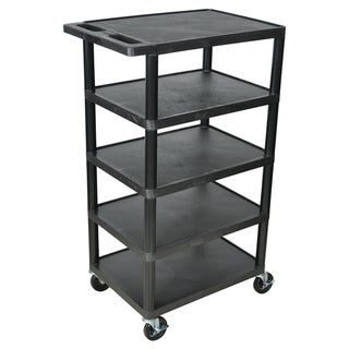 Offex Black BC50 Movable Multi-tiered 5 Flat Storage Shelf Structural Foam Molded Plastic Utility Cart