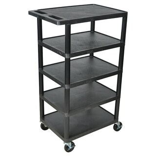 Offex Black BC50 Movable Multi-tiered 5 Flat Storage Shelf Structural Foam Molded Plastic Utility Ca