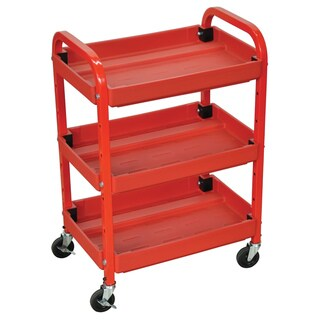 Offex OF-ATC332 3-shelves Red Adjustable Storage Utility Cart