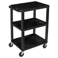 Offex OF-WT34S 3 Shelves Multipurpose Tuffy Black Utility Storage Cart
