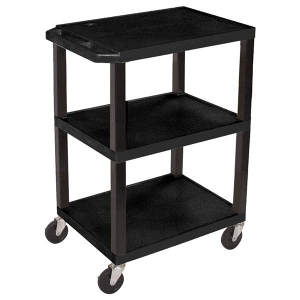 Offex OF-WT34S 3 Shelves Multipurpose Black Utility Storage Cart