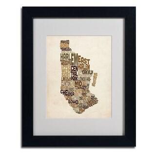 Michael Tompsett 'Manhattan Text Map' Framed Matted Art
