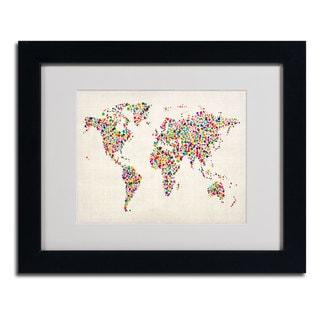 Michael Tompsett 'Stars World Map 2' Framed Matted Art