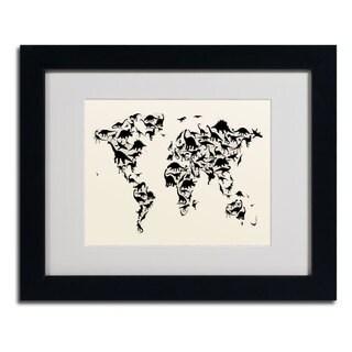 Michael Tompsett 'Dinosaur World Map' Framed Matted Art