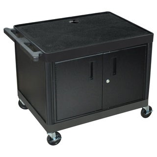 Offex Mobile Black Presentation AV Utility Cart with 2 Storage Shelf