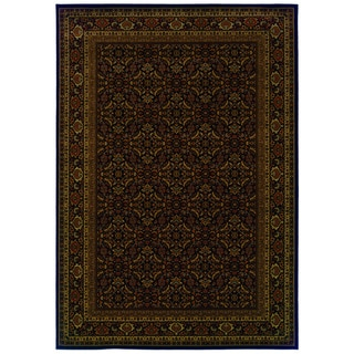 Traditional Black/ Red Area Rug (6'7 x 9'6)