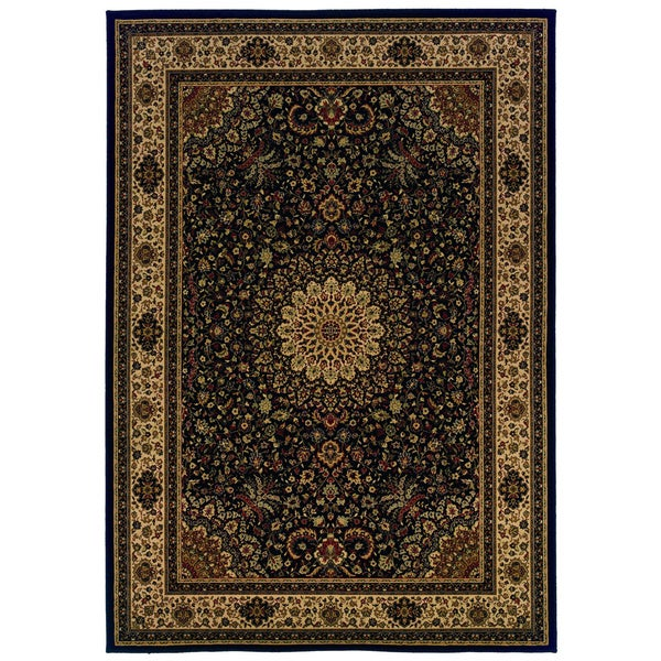 Traditional Black/ Ivory Area Rug - 9'10 x 12'10