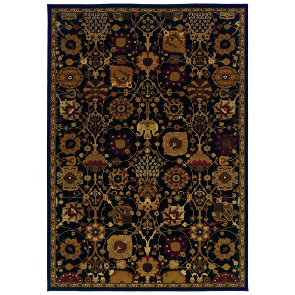 Traditional Black/ Multi Area Rug - 9'10 x 12'10