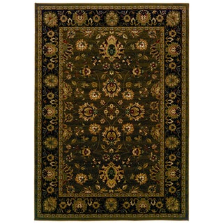 Traditional Brown/ Black Area Rug (6'7 x 9'6)