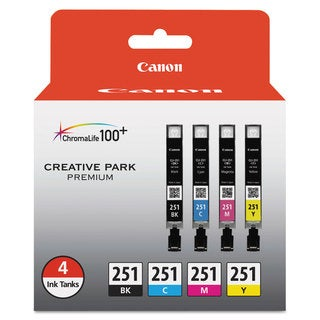 Canon CLI-251 BK/CMY Ink Cartridge Value Pack - Cyan, Magenta, Yellow