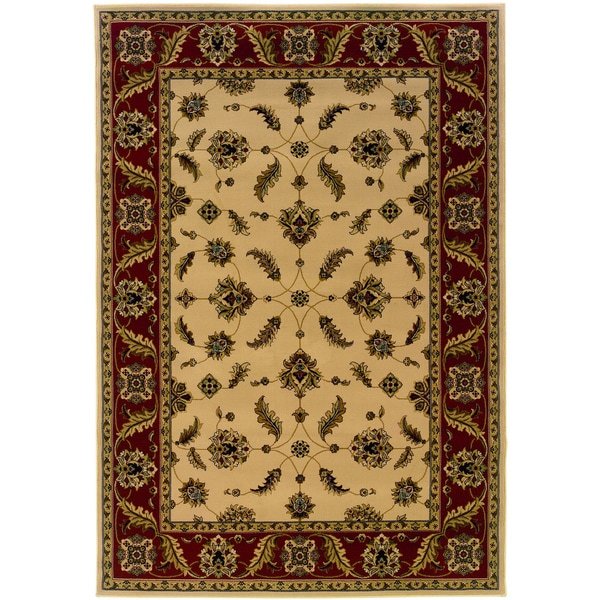 Traditional Ivory/ Red Area Rug (3'10 x 5'5)