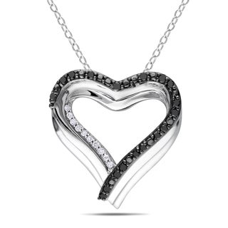 Miadora Sterling Silver 1/4ct Diamond Black and White Diamond Heart Necklace