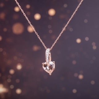 Link to Miadora 10k Rose Gold Morganite and Diamond Heart Necklace Similar Items in Necklaces
