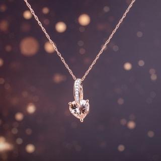 Miadora 10k Rose Gold Morganite And Diamond Heart Necklace
