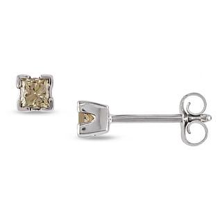 Haylee Jewels 14k White Gold 1/4ct TDW Princess-cut Brown Diamond Stud Earrings