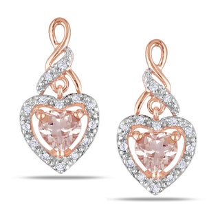 Miadora 10k Rose Gold Morganite 1/8ct Diamond Heart Earrings (H-I, I2-I3)