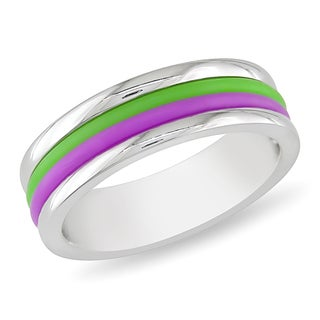 Miadora Stainless Steel Purple and Green Material Stripes Band Ring