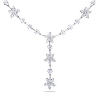 Miadora Signature Collection 14k Gold White 2 1/2ct TDW Vintage Floral Diamond Necklace