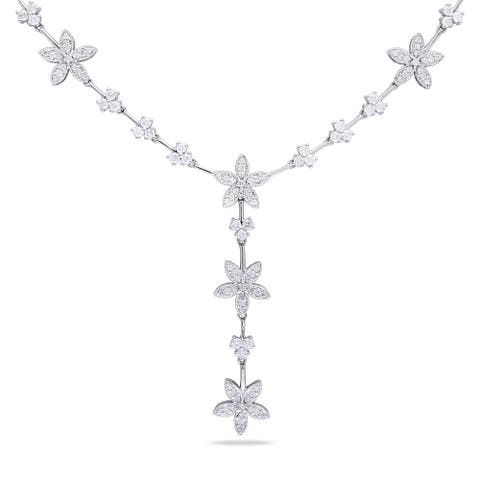 Miadora Signature Collection 14k Gold White 2 1/2ct TDW Vintage Floral Diamond Necklace - Gold White