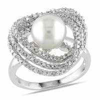 Miadora Sterling Silver White Pearl and 1/4ct TDW Diamond Ring (H-I, I2-I3)