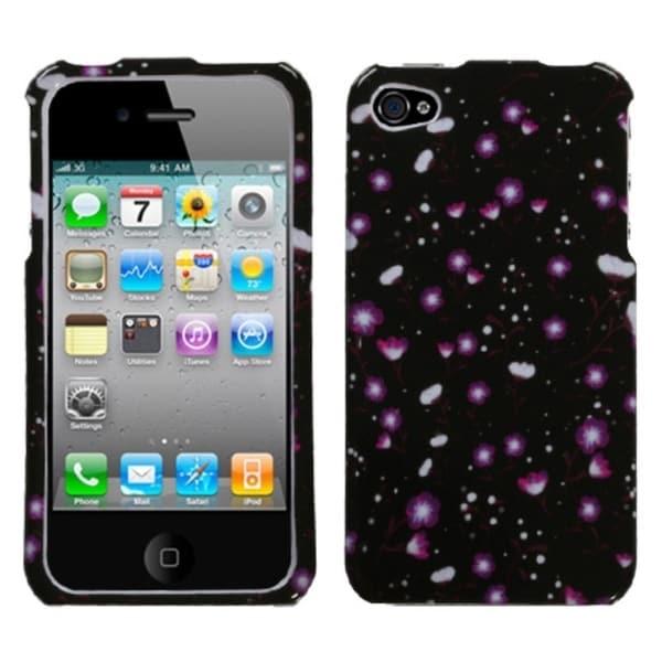 INSTEN Starburst Flower Black Phone Case Cover for Apple iPhone 4/ 4S