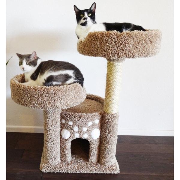 Shop New Cat Condos Double Perch Solid Wood Cat Condo - Free