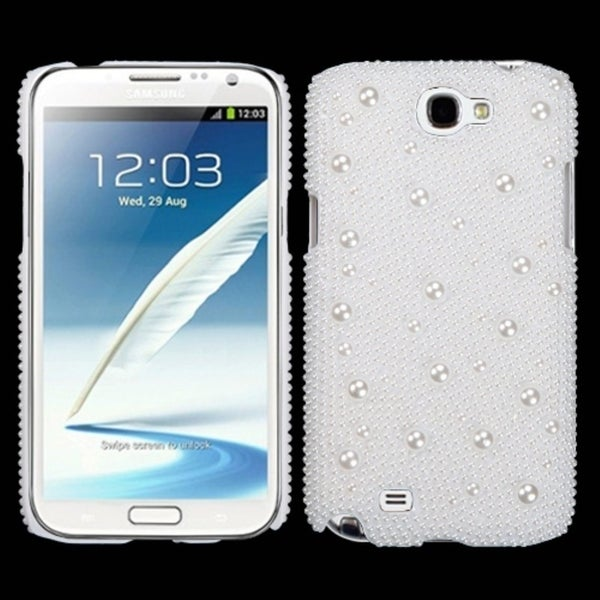 INSTEN White Pearl Diamante Phone Case Cover for Samsung Galaxy Note II T889/ I605