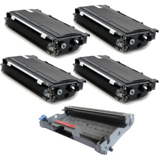 Brother TN350 Compatible Black Toner Cartridges and 1 DR350 Drum Unit (Pack of 5)