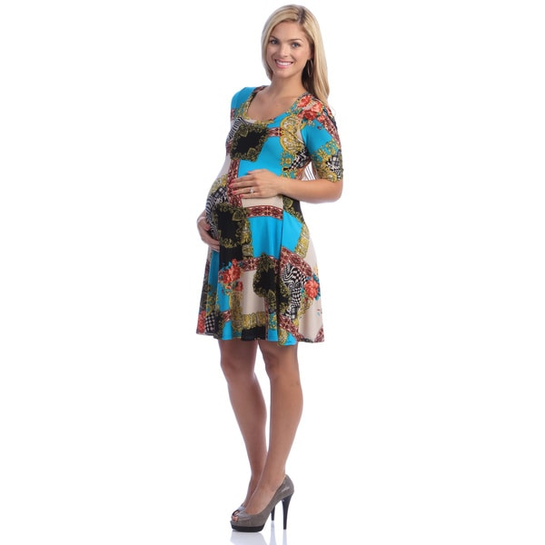 24/7 Comfort Apparel Women's Maternity Elbow-Sleeve Multi-colored Printed Dress