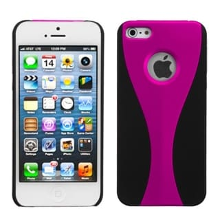 INSTEN Hot Pink/ Black Wave Rubberized Phone Case for Apple iPhone 5/ 5S/ SE
